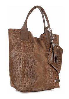 Shopper bag Genuine Leather z frędzlami ze skóry duża z tłoczeniem