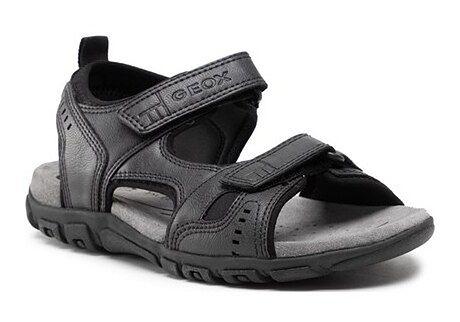 Sandały męskie Geox na rzepy casual ze skóry ekologicznej na lato