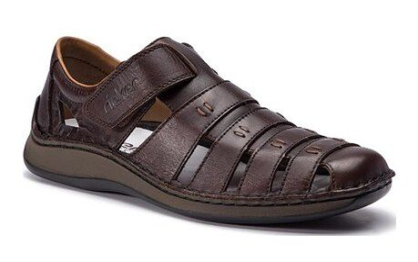 Sandały męskie Rieker brązowe skórzane na rzepy casual