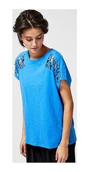 Bluzka damska niebieska casualowa z krótkim rękawem