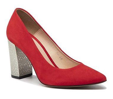 Półbuty damskie Baldaccini eleganckie czerwone bez wzorów bez zapięcia z zamszu