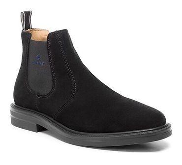 Buty zimowe męskie czarne Gant eleganckie bez zapięcia jesienne