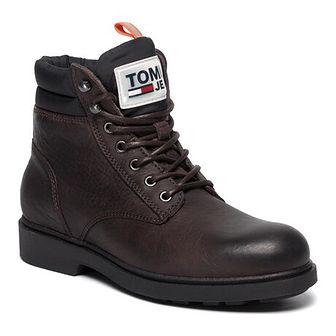 Brązowe buty zimowe męskie Tommy Jeans militarne sznurowane
