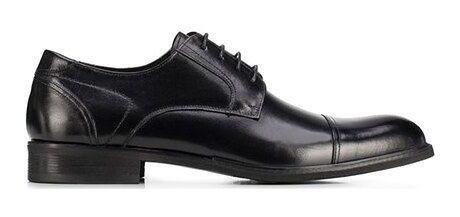Czarne buty eleganckie męskie Wittchen sznurowane skórzane