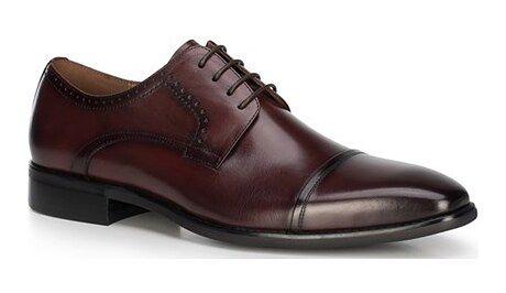Czerwone buty eleganckie męskie Wittchen jesienne skórzane wiązane