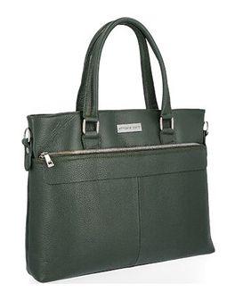 Shopper bag Vittoria Gotti matowa duża zielona biznesowa skórzana