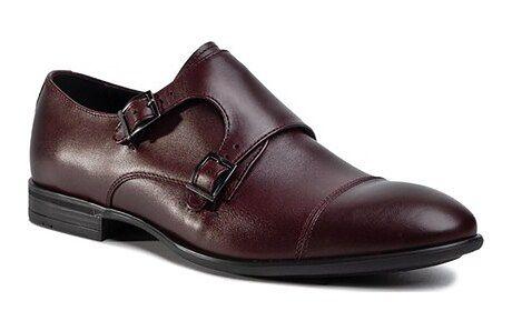 Buty eleganckie męskie Quazi czerwone skórzane