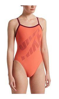 Strój kąpielowy Nike Swim pomarańczowa z napisami
