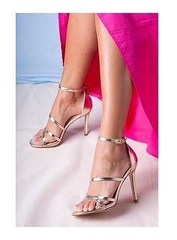 Sandały damskie Casu złote bez wzorów eleganckie na lato na wysokim obcasie