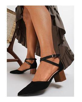 Renee sandały damskie eleganckie z klamrą czarne gładkie