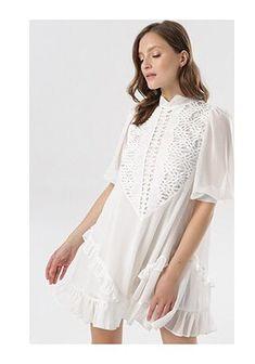 Sukienka Born2be koronkowa z krótkim rękawem