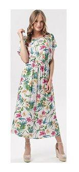 Sukienka Born2be w kwiaty rozkloszowana z krótkimi rękawami na spacer