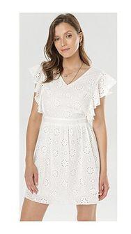 Sukienka biała Born2be z krótkim rękawem
