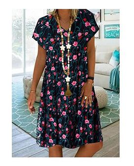 Sukienka wielokolorowa Sandbella z krótkimi rękawami