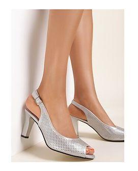 Renee sandały damskie srebrne ze skóry eleganckie