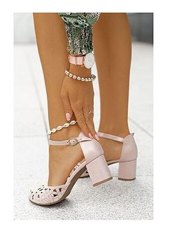 Różowe sandały damskie Saway z zamszu