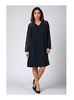 Sukienka Plus Size Company z długim rękawem elegancka
