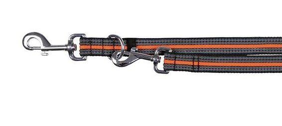 """TRIXIE Smycz """"Fusion adjustable lead"""" S - L 2 m / 17 mm czarno - pomarańczowy"""