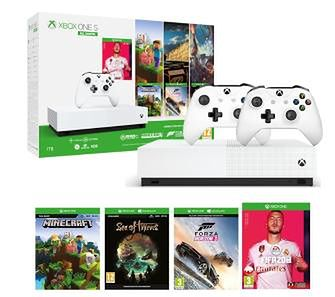 Xbox One S 1TB All-Digital Edition + Minecraft + Sea Of Thieves + Forza Horizon 3 + FIFA 20 + 2 pady