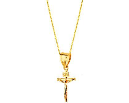 Złota zawieszka - krzyż o
