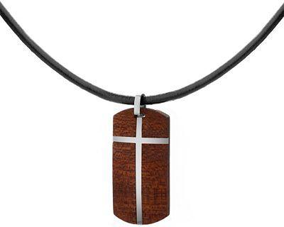 Naszyjnik typu nieśmiertelnik ze stali szlachetnej z drewnem