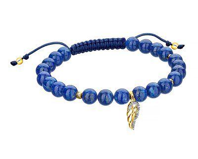 Bransoletka z lapis lazuli z elementami z żółtego złota i diamentami