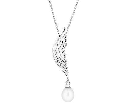 Zawieszka srebrna z perłą - skrzydło