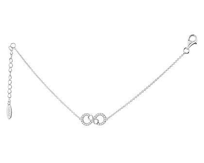 Bransoletka srebrna z cyrkoniami - nieskończoność