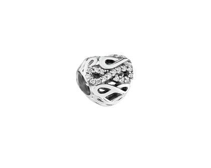 Zawieszka srebrna beads z cyrkoniami - serce, nieskończoność