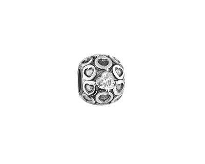 Zawieszka srebrna beads z cyrkoniami - serca