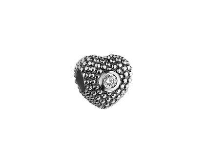 Zawieszka srebrna beads z cyrkoniami - serce