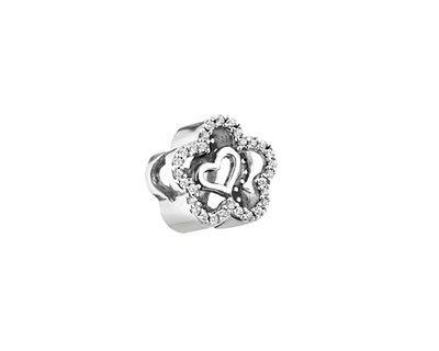 Zawieszka srebrna beads z cyrkoniami - kwiatek, serce