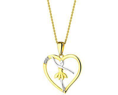 Zawieszka z żółtego złota z diamentami - baletnica, serce