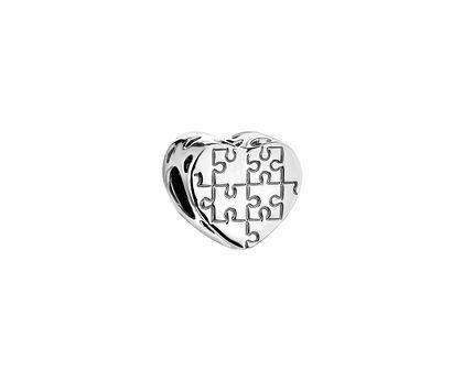 Zawieszka srebrna beads - serce, puzzle