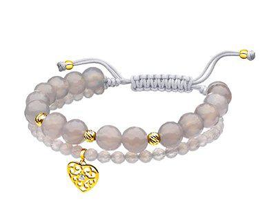 Bransoletka z agatów z elementami z żółtego złota i diamentem - serce