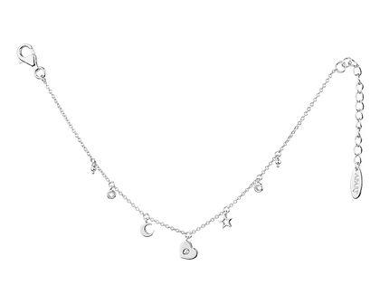 Bransoletka srebrna z cyrkoniami - serce, gwiazdka, księżyc