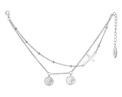 Bransoletka srebrna - monety, krzyżyk
