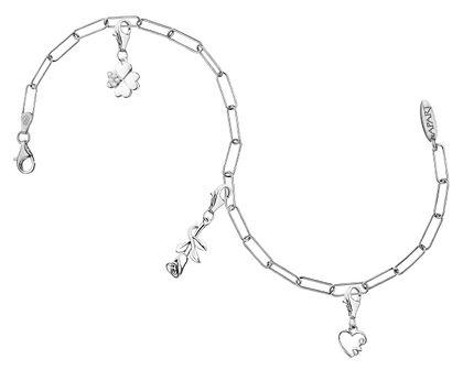 Bransoletka charms - zestaw - serce, róża, koniczyna