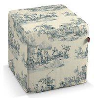Dekoria Pufa kostka, tło ecru, niebieskie postacie, 40 × 40 × 40 cm, Avinon