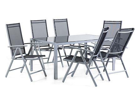 Aluminiowe meble ogrodowe czarne 160 x 90 cm dla 6 osób CATANIA