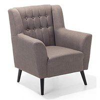 Fotel wypoczynkowy brązowo-szary do salonu tapicerowany - ROSKILDE