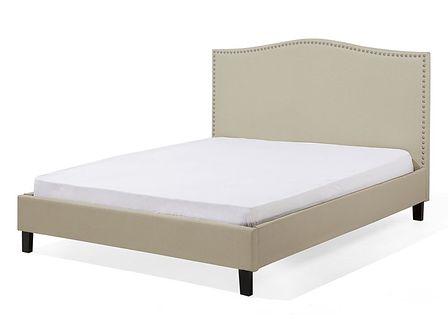 Łóżko beżowe tapicerowane 160 x 200 cm MONTPELLIER