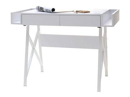 Biurko Boras białe pod laptopa w skandynawskim stylu
