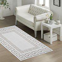 Wytrzymały bawełniany dywan w bezowym kolorze Vitaus Versace, 80x150 cm