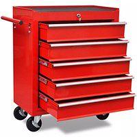 vidaXL Czerwony wózek narzędziowy/warsztatowy z 5 szufladami