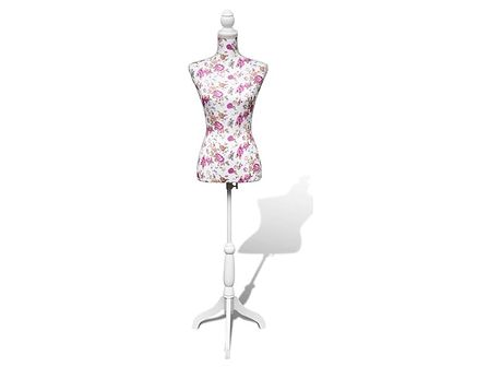 vidaXL Manekin kobiecy, korpus, bawełna z różanym wzorem, biały