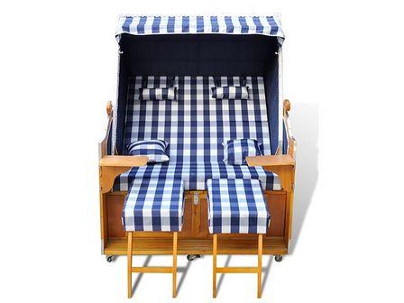 vidaXL Leżak plażowy, kosz plażowy, niebiesko-biały, dla dwóch osób.