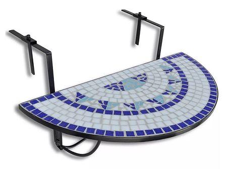 vidaXL Półokrągły stolik balkonowy, biało-niebieska mozaika