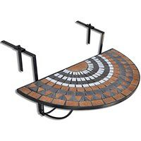 vidaXL Półokrągły, wiszący stolik balkonowy, mozaika