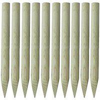 vidaXL Słupki ogrodzeniowe, zaostrzone, 10 szt., 100 cm, drewno FSC